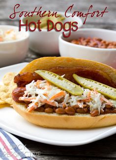 "Southern Comfort"" Bacon Hot Dog Recipe with Southern Slaw keto slaw dog - Keto Coleslaw Hot Dog Recipes, Bacon Recipes, Cooking Recipes, Recipes With Hotdogs, Cooking Videos, Sandwich Recipes, Thai Recipes, Fall Recipes, Dinner Recipes"