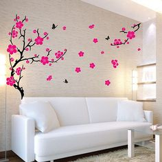 XL Plum Blossom Wall Sticker - Available in Standard (as shown) or Reversed Format. Email us if you would like the sticker to face the opposite way or if you would like the branch in one of the other colours too. Create a huge display on your wall with this giant blossom tree wall decor! The XL Plum Blossom Wall Sticker is a huge and magnificent way to bring attention to your walls with the main tree standing at had whopping 2 metres! This sticker can be positioned as part of a feature wall…