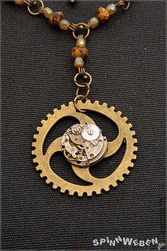 Steampunk Gear Clockwork Necklace  Amulet Locket by SpinnWeben