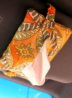 Car Visor Pocket Tissue pdf Sewing Pattern. This pattern is $, but it would be so easy to add the elastic strap to any free pattern. I like this idea.
