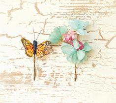 flower hair clips, butterfly bobby pins, garden hair pins - lovefool