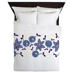 Blue Roses Watercolor Pattern Queen Duvet on CafePress.com