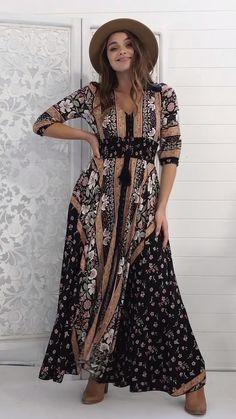 Boho Robe Longue Taille 10 12 M Manche Longue Gypsy Floral Summer Modeste bohème