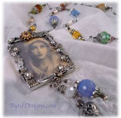 Handcrafted Virgin Mary rosary silver jewelry by ByrdDesigns, $185.00