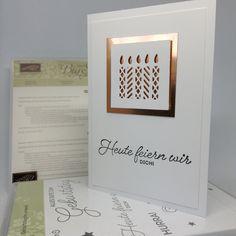 Hallöchen, heute habe ich eine Geburtstagskarte in den Farben Kupfer & Flüsterweiß für euch. Verwendet habe ich eine von den Thinlit-Formen aus dem Set Fensterschachtelund natürlich meineBig …