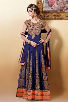 Divine Navy Georgette Embroidered Designer Anarkali Suit