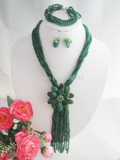 Free Shipping !!!W-1373 Hotsale ! Fashion Wrap Flower Stone  Green Agate Flower Necklace Set $69.89
