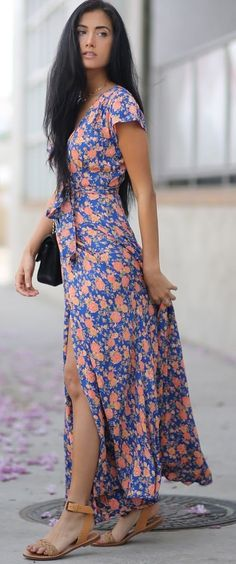 #summer #musthave #outfits | Floral Maxi Shirt Dress