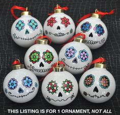 Day of the Dead/Sugar Skull Porcelain Ball Ornament by ARTholomew https://LaurenKety.Scentsy.us #LaurenKetysScentsySpecials
