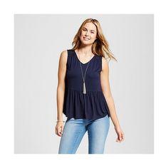 Merona, Women's Knit Peplum Tank  Xavier Navy ($18) ❤ liked on Polyvore featuring tops, xavier navy, knit tank, peplum tops, navy blue top, merona tank top and navy top