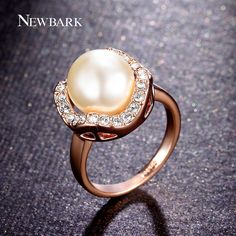 Find More Rings Information about NEWBARK Elegant Imitation Pearl Rings 18k…