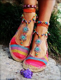 GYPSY summer BAREFOOT Sandals Toe Ankle wraps ORANGE beach wedding rainbow dance…
