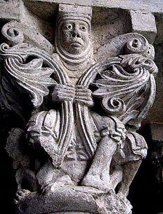 Sant Pere de Galligants, Girona. X-XII Medieval Art, Renaissance Art, Romanesque Sculpture, Carolingian, Green Man, Interesting Faces, Ancient Art, Mythical Creatures, Art And Architecture
