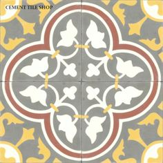Cement Tile Roseton Red Decals Portuguese Tiles White Subway