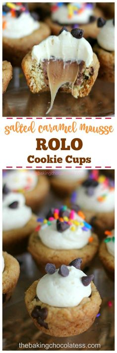 Salted Caramel Mousse ROLO Cookie Cups - Who could resist these little gooey cookie cups loaded with mini chocolate chips, ROLOs and a fluffy caramel mousse filling? Not I via @https://www.pinterest.com/BaknChocolaTess/