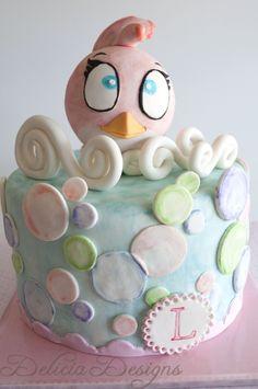 The Pink Angry Bird Cake