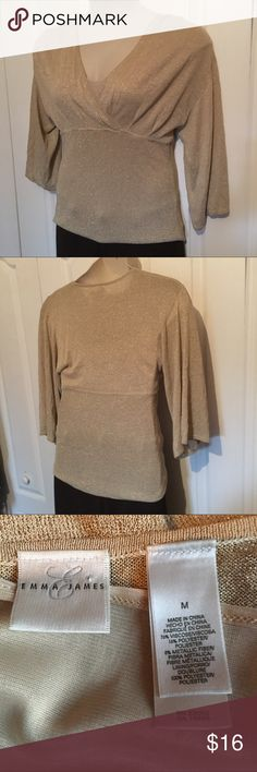 Gold blouse Stretch gold lurex material has built in cami on top. Emma James Tops Blouses