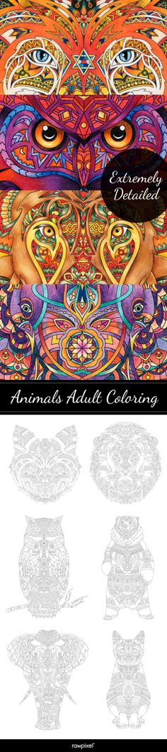Download free adult coloring pages and gorgeous printables of wild animals at rawpixel.com Creative Design, Web Design, Free Adult Coloring Pages, Image Fun, Famous Artists, Wild Animals, Awesome, Amazing, Vector Free