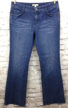 CAbi # 511R Womens 10 Boot Cut Jeans Whiskered Distressed Dark Denim Mid Rise #CAbi #BootCut