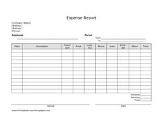 Expense  Printable Forms Worksheets  Free Printable Chart And