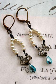 Celia. assemblagerhinestoneseed pearl earrings. by tiedupmemories, $32.00