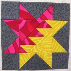 zig zag star by pieceful kwilter, via Flickr. UPDATE:  This is the Fiery Star pattern designed by Judy Martin, available from EQ