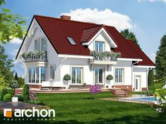 Dom w werbenach 2 House Roof Design, Small House Design, Facade House, Bungalow House Plans, Cottage House Plans, Cottage Homes, Carriage House Plans, Modern House Facades, Glitter Houses