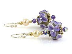 Handmade Purple Floral Lampwork Bead Earrings – SWCreations