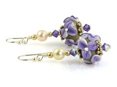 Handmade Purple Floral Lampwork Bead Earrings – SWCreations