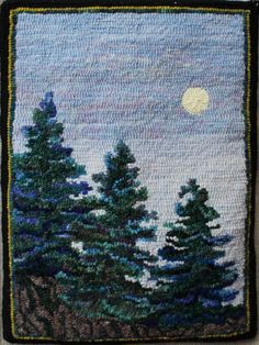 evergreen trees for rug hooking Rug Hooking Designs, Rug Hooking Patterns, Penny Rugs, Homemade Rugs, Punch Needle Patterns, Latch Hook Rugs, Rug Inspiration, Hand Hooked Rugs, Wool Art