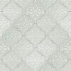 Byzantine Florid Arabesque Alice Ceramic Tile - mix w/ plain