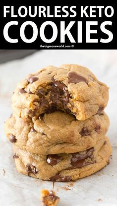 BEST KETO Chocolate Chip Cookies- NO flour, NO eggs! These are the BEST Keto Chocolate Chip Cookies- Soft, chewy, FLOURLESS and made with just 4 Ingredients! NO dairy, NO eggs and ready in just 12 minutes- These will be your go-to recipe!