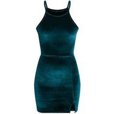 Aniqah Emerald Green Velvet Split Detail Bodycon Dress ($28) ❤ liked on Polyvore featuring dresses, body con dress, emerald green dress, blue color dress, bodycon cocktail dresses and blue bodycon dress