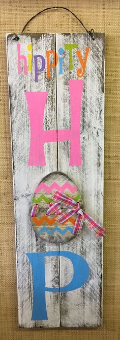 "Hippity Hop Easter Tall Holiday/Seasonal Wood Sign » Handmade & Painted, Rustic Distressed ""Pallet"" Sign"