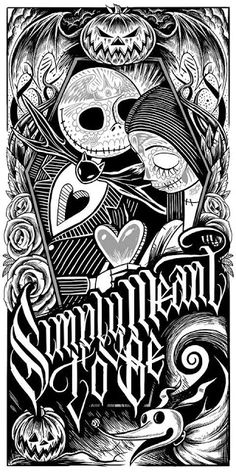 """""""Jack and Sally Muertitos"""" The Nightmare Before Christmas Screen Print by Maxx242"""
