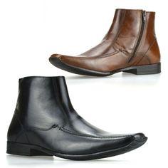 Mens New Leather Zip Up Smart Chelsea Dealer Work Ankle Biker Boots Shoes Size