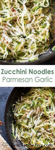Zucchini noodle recipe with garlic butter parmesan cheese. This healthy keto zucchini noodles recipe is quick and easy with no pasta. Zucchini Noodles Recipe Garlic, Zucchini Noodle Recipes, Zoodle Recipes, Healthy Zucchini, Spiralizer Recipes, Garlic Recipes, Veggie Recipes, Vegetarian Recipes, Cooking Recipes