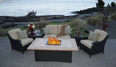 Estrada 6 piece Fire-Conversation Group | CarlsPatio.com |  With classic deep seating design and a hand woven wicker frame, the Estrada Fire-Conversation collection exudes comfort and style.