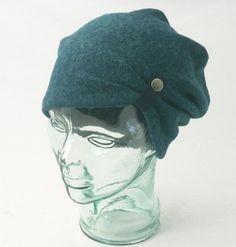Slouchy Hat in Teal Boiled Wool
