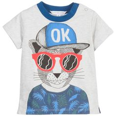 Baby boys grey 'Skate Avenue' print t-shirt by Little Marc Jacobs. Made in soft cotton jersey, it has a printed front and popper fastening on one shoulder for easy dressing.
