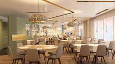 Restaurant l'Epicurienne Restaurants, Conference Room, Hotels, Chandelier, Ceiling Lights, Table, Furniture, Home Decor, Candelabra