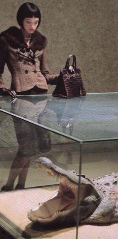 """""""Senior Moment"""". Gemma Ward by Tim Walker for Vogue US August 2004 - Hermes crocodile bag"""
