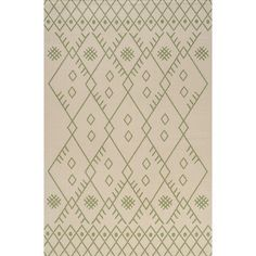Inspired by vintage Beni Ourain Moroccan rugs, our indoor/outdoor rug adds modern Bohemian style to your porch, patio or sunroom. The classic Moroccan pattern has a geometric design of green diamonds on a field of beige. Mingled threads give this rug a handwoven, vintage vibe that's perfect for an entry, kitchen, hallway, living room or bedroom too. The pet-friendly and kid-proof flatweave design makes it easy to clean, and perfect for the beach house.