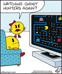 Comics Off the Mark: Watching Ghost Hunters again? Funny Cartoon Memes, Funny Comics, Funny Jokes, Funny Sayings, Hilarious, Pac Man, Gaming Wall Art, You Make Me Laugh, Ghost Hunters
