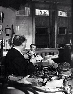 "Alfred Hitchcock and James Stewart on the set of ""Rear Window"" 1954"