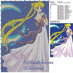 Princess Serenity cross stitch pattern 100x148 15 colors