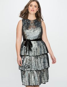 Sequin Layered Tea Dress from eloquii.com