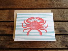 Antique Crab with Watercolor Stripe Folded Notecards