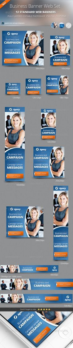 Buy Business Banner Web Set by zokamaric on GraphicRiver. Business Banner Web Set a high quality Business Corporate Web Banners, full layered and very easy to edit, unique de. Web Banner Design, Web Banners, Pole Banners, Company Banner, Advertising Flyers, 404 Pages, Banner Drawing, Summer Banner, One Page Website