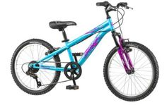 "Nice 20"" Mongoose Girls BMX / Mountain Bike Hybrid With Aluminum Frame and Suspension, in Blue and Purple"